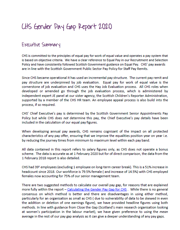 CHS Gender Pay Gap and Equal Pay Report 2020